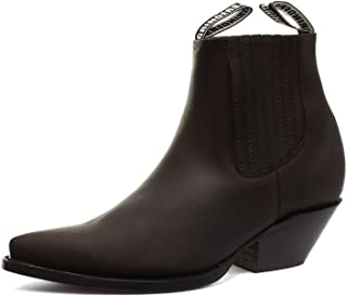 Grinders Mustang Brown Real Leather Cowboy Boot Slip On Cuban Heel Chelsea Boots New Western Fashion Stylish Hand Crafted Shoes