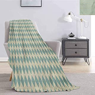 Luoiaax Geometric Plush Blanket for Bed Couch Rhombus Pattern with Retro Design Inspirations Vintage Argyle Arrangement Soft Warm Plush Blanket W70 x L70 Inch Teal and Beige