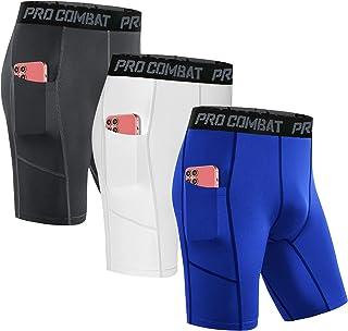 Compression Shorts Men's 3 Pack with Pocket Running Short...