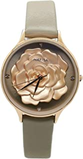 Chronomart Nafisa Women's Embossed 3D Peony Flower Rose Gold Color Case Ivory Leather Strap Wrist Watch NA-0231