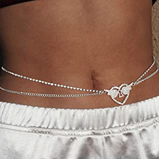 Layered Body Chains Crystal Love Heart Waist Chains Nightclub Party Belly Chain Fashion Body Jewelry Accessories for Women...