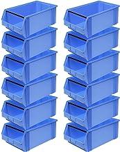 """12 cajas transparentes""""Classic"""" FB 2 con barra de transporte, 510/450 x 300 x 200 mm, 27 litros, color azul"""