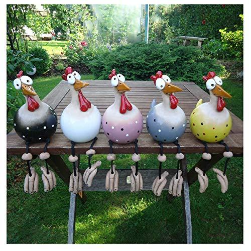 5 Stück Garten Stecker Hen Hahn Hens Vogel Edge Seater Mit Nervösen Beinen, Handgefertigte Ornament Tierfigur Garten Skulpturen, Keramik Figur Hähnchen Garten Schild, Innen Draussen Dekor