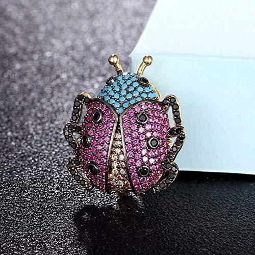 XZJKWA Joyas Escarabajo Rosa Azul Broches De Insectos Boda Abeja De Cobre