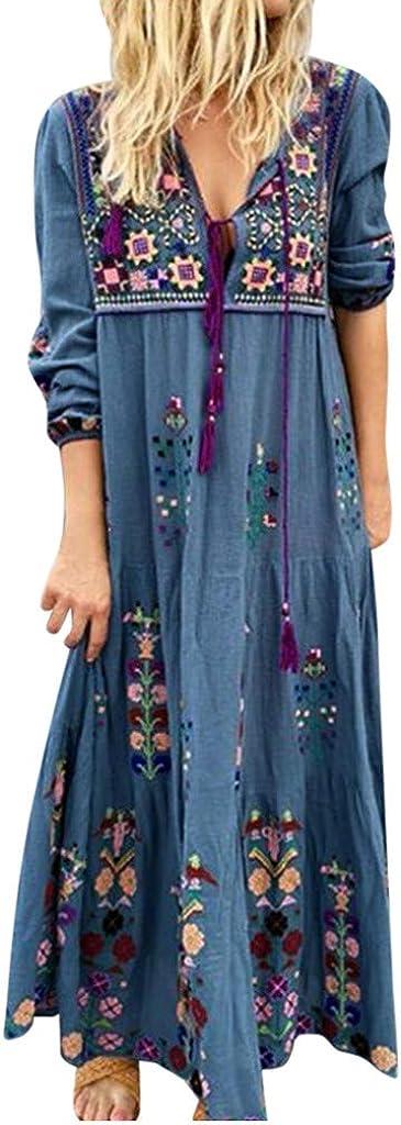 KINGOLDON Women V Neck Print Dress Lace Up Long Sleeve Boho Plus Size Dress Party Maxi Dress