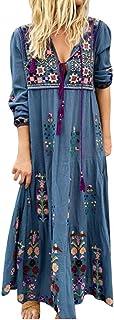 Fankle Women's Boho Maxi Dresses Floral Print Long Sleeve Floral Print Retro V Neck Tassel Casual Loose Ethnic Style Dress