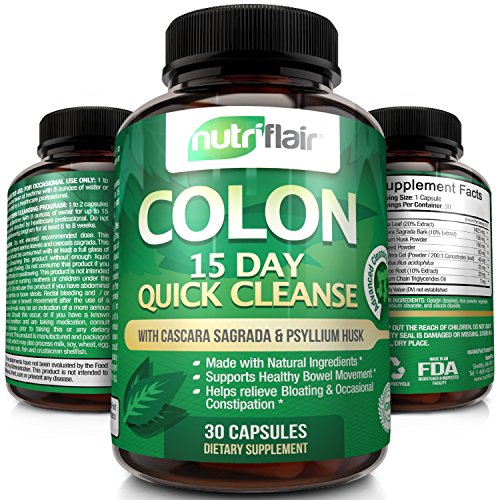 NutriFlair® 15 Day Quick Colon Cleanse, 30 Capsules - Advanced Cleansing Formula Pills: Supports Weight Loss, Healthy Bowel Movement, Detox, Increased Energy Levels