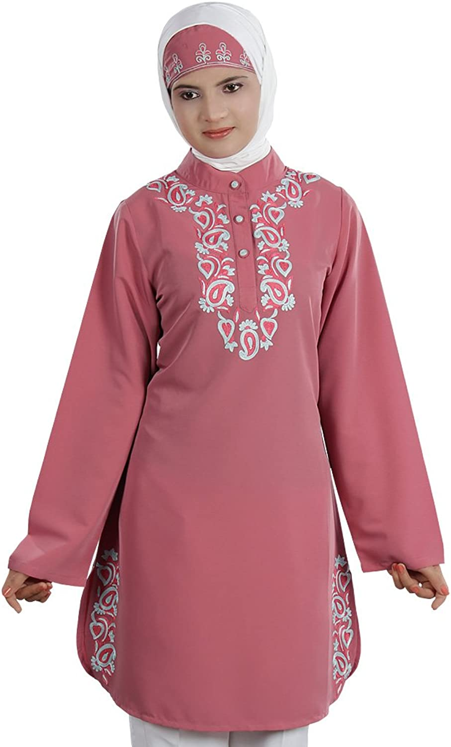 MyBatua Women's Muslim Elegant Naseeka Tunic in Dusty Pink