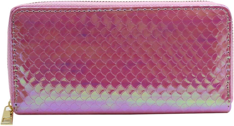 Aimeio Women Girls Holographic Mermaid Long Wallet Zip Around Clutch Purse Handbag Card Holder Purse
