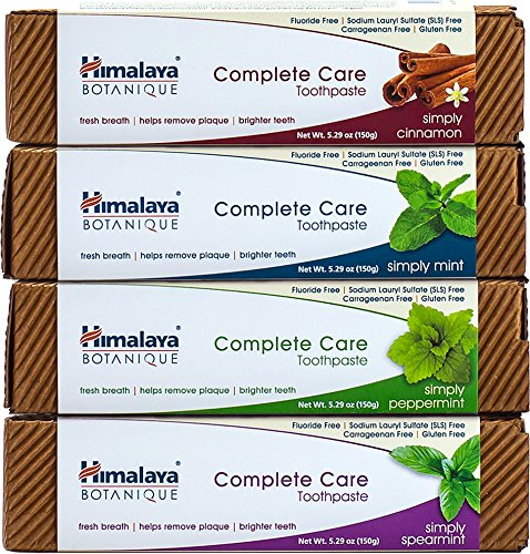 Himalaya Botanique Complete Care Toothpaste, Plaque Reducer for Brighter Teeth and Fresh Breath, 5.29 oz, Variety 4-Pack