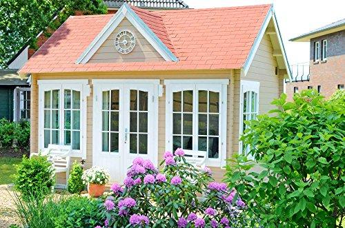 *Alpholz Gartenhaus Clockhouse-28 – Holzhaus mit 5 x Fenster – Blockhaus Bausatz – Gartenhütte Winterfest – Blockbohlenhaus Gartenhäuschen ohne Imprägnierung*