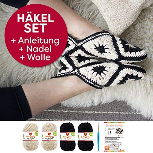 myboshi Häkel-Set Habikino | aus No.2 | Anleitung + Wolle | mit passender Häkelnadel | Haus-Schuh-Häkel-Set | Elfenbein Schwarz