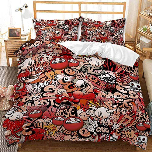 HGFHKL Graffiti anime 3d printing quilt cover three-piece bedding. Suitable for children, boys, girls quilt cover and pillowcase