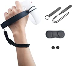 Esimen Knuckle Strap for Oculus Quest 2 with Adjustable Wrist Strap Button Cover Touch Controller Grip Accessories(Black)