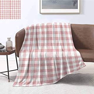 Luoiaax Checkered Luxury Special Grade Blanket Picnic in Countryside Themed Gingham Pattern in Light Colors Print Multi-Purpose use for Sofas etc. W57 x L74 Inch Pink Light Pink White