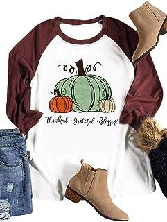 HRIUYI Thanksgiving Thanks Shirts Tee Women Halloween Pumpkin 3/4 Sleeve Tee Tops Blouse
