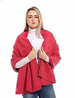 Andora Square-Pattern Ribbed Trims Rectangular Wool Winter Scarf for Women
