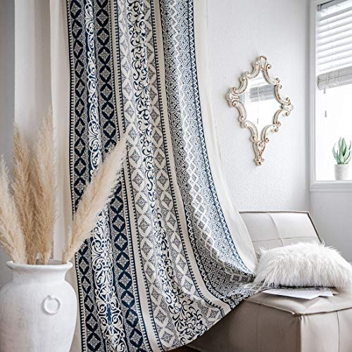"""vctops Boho Cotton Linen Window Curtain Panel with Tassels Geometric Print Country Style Room Darkening Curtain Panel for Bedroom Living Room, 1 Piece (59""""x87"""",Blue)"""