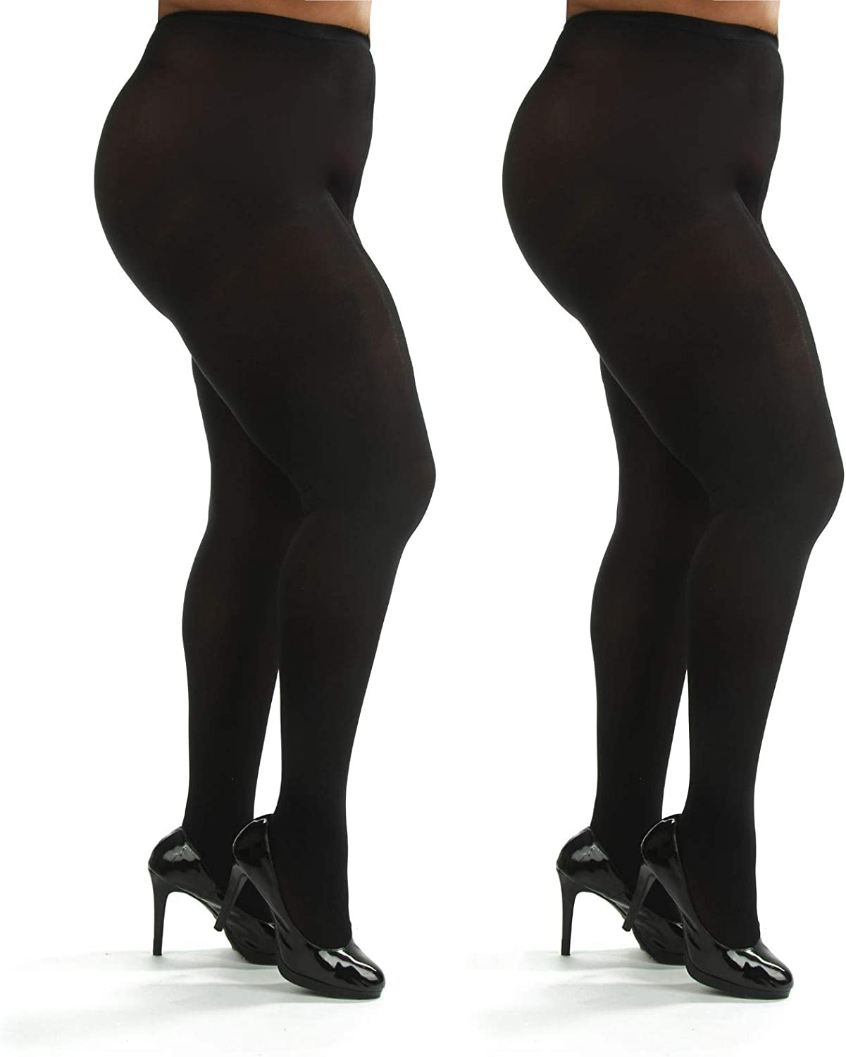 Silky Toes Women's Plus Size Opaque Microfiber Tights- 1 or 2 Pairs, Solid Colored