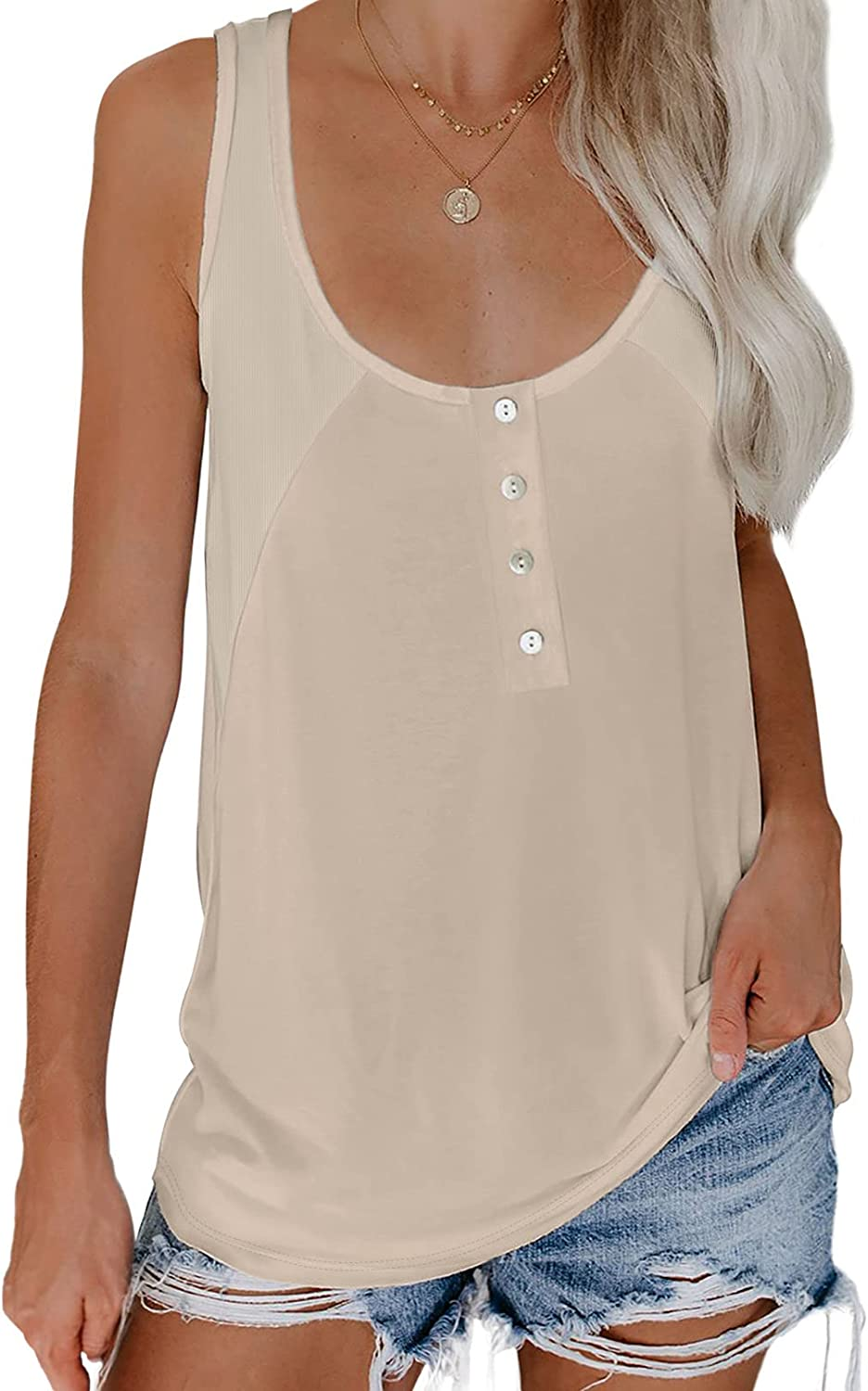 Biucly Women's Summer Tank Tops Casual Button Down Sleeveless Blouses Shirts