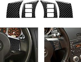 KDLLK Interior automotriz,para Nissan 350Z 2006 2009 Panel de Volante Cubierta de Ajuste 4 Piezas Coche Fibra de Carbono Panel de Volante Decoración Trim Sticker