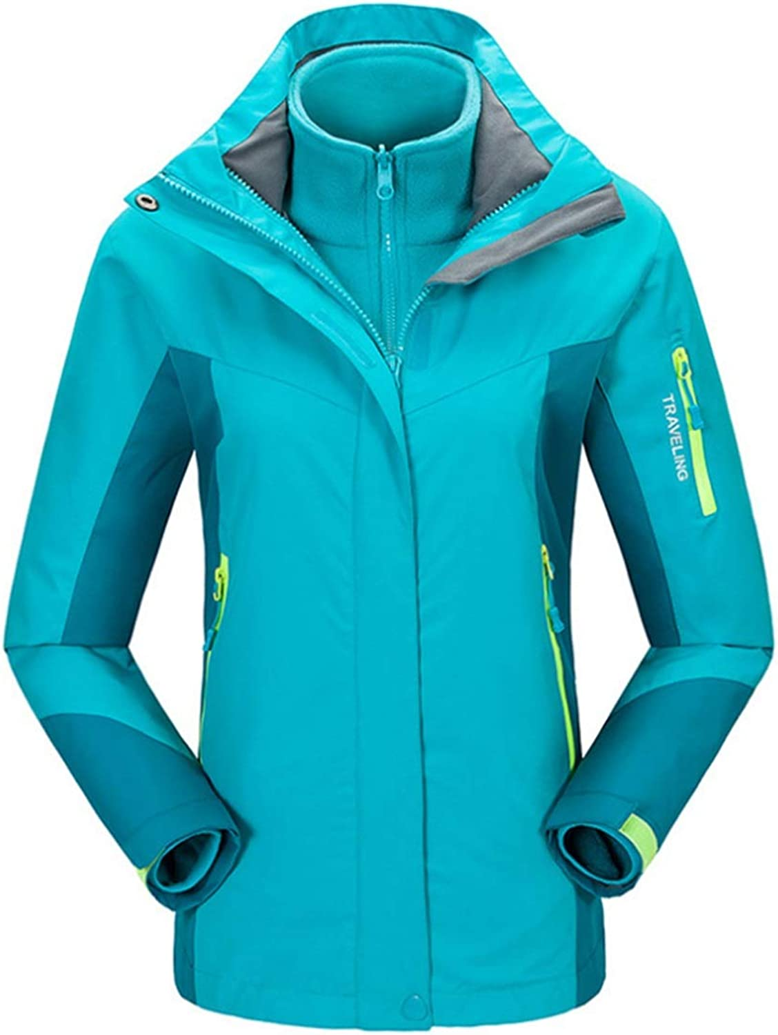 CEFULTY Women's Mountain Rain Jacket Windproof Coats Hooded Outdoor Windbreaker for Camping Hiking (color   02, Size   M)