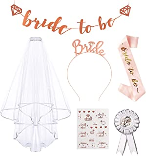 'Bride to Be Sash and Sloil', AivaToba möhippa festaccessoar med blivande brud banderoll, märke, brud pannband tiara, tatu...