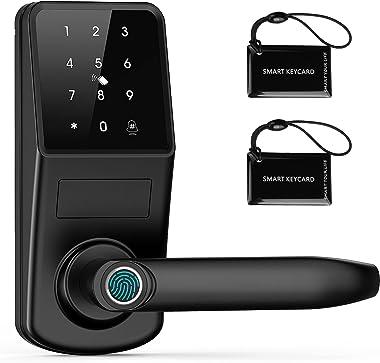 Smart Door Lock with Keypad, KPP Fingerprint Electronic Deadbolt Door Lock with APP Control, Code and eKey, Auto Lock for Hom