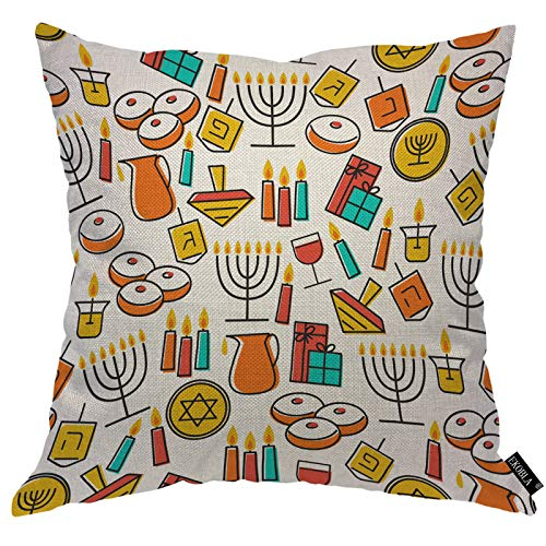 EKOBLA Hanukkah Elements Throw Pillow Cover Colorful Candles Donuts Gifts Coins Menorah Jewish Cozy Square Cushion Case for Men Women Boys Girls Room Home Decor Cotton Linen 18x18 Inch