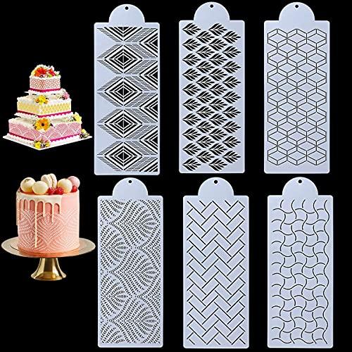 6 stencil per decorazione di torte in plastica, per cupcake, biscotti, decorazioni per torte nuziali, decorazioni