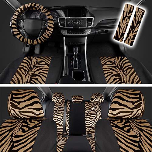 BDK carXS Velvet Animal Pattern Car Seat Covers, Full Set - Two Tone Beige Zebra...