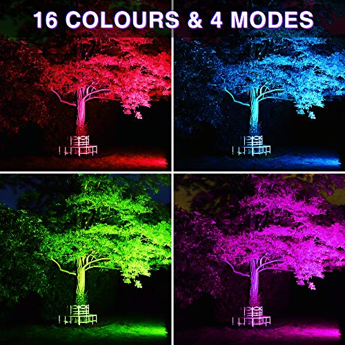 Ustellar 2 Pack 30W RGB LED Color Changing Flood Lights Indoor Outdoor Colored Floodlight Remote IP66 Waterproof Color Lights Outside Dimmable Wall Wash Light Halloween Party Landscape Stage Lighting