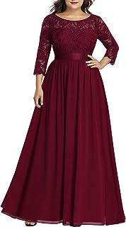 Women's Plus Size A-Line 3/4 Lace Sleeves Chiffon Long Formal Evening Party Maxi Dress 7412PZ