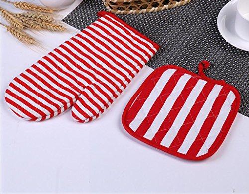 Dbtxwd cuisine isolation toile anti-hot gants épaississement surchauffage stripe bicarbonate gants gants de four à micro-ondes (pack de 3) , 2