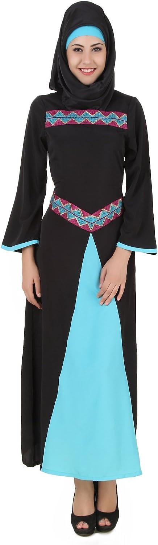 MyBatua Rima Black & Turquoise Crepe Abaya Burqa Dress AY463