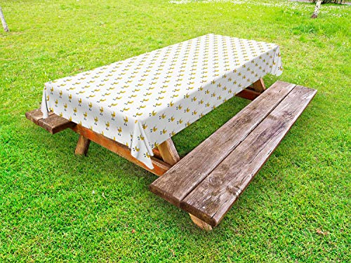 ABAKUHAUS grijs Geel Tafelkleed voor Buitengebruik, Modern Kinderwagen, Decoratief Wasbaar Tafelkleed voor Picknicktafel, 58 x 120 cm, Geel Blauw Grijs