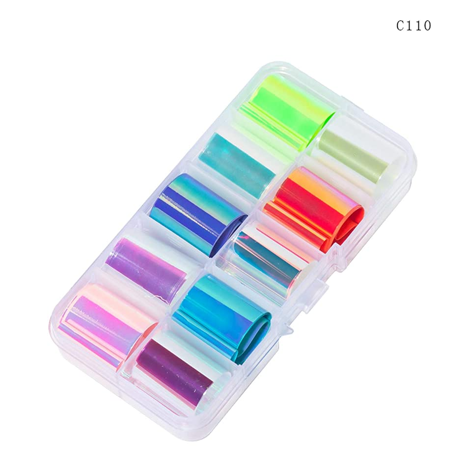 10 Design/Set 2.5100Cm Holographic Nail Art Transfer Foil Stickers Paper Starry Ab Color Uv Gel Wraps Nail Adhesive Decals,C110