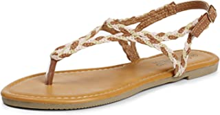 Flat Sandals for Women w Flannel Braided and Adjustable Metal Buckle