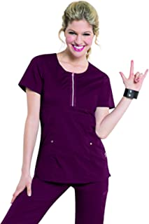 "Smitten Women's Blush Zip Front Scrub Top""Diva"" Medical Scrubs Shirt"