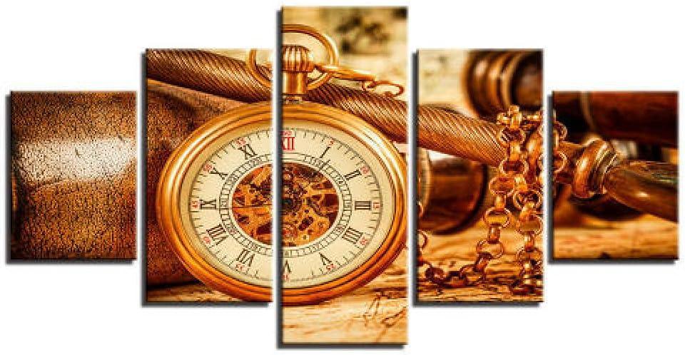 5 Piece Wall Decor Canvas Watch Regular dealer Clock Art Max 70% OFF Pendant Vintage