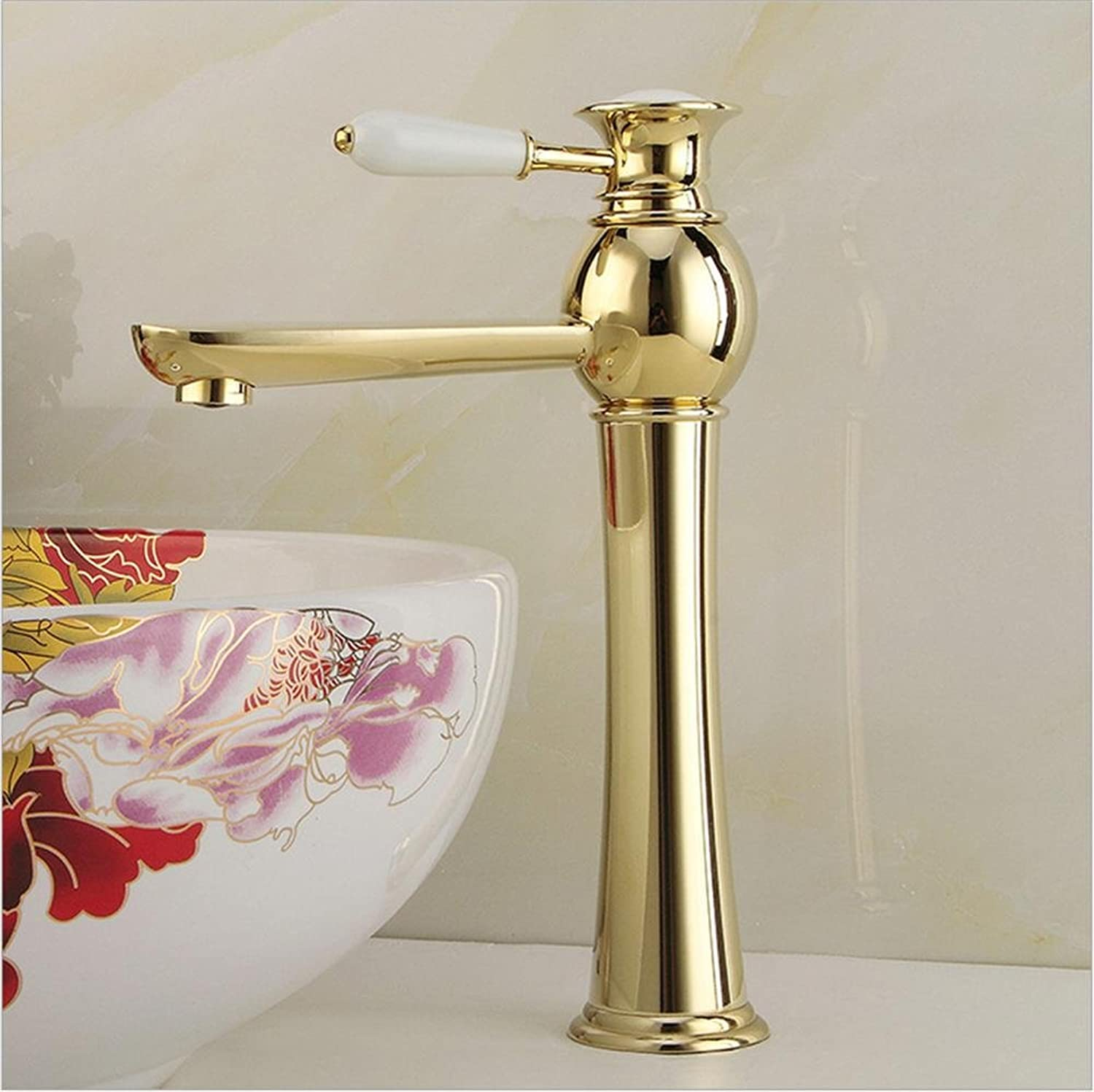 ZHIYUAN Fashion high-end ware Centerset Antique Hot and cold Single hole Faucets Bathroom washbasin gold-plated Mixing faucets