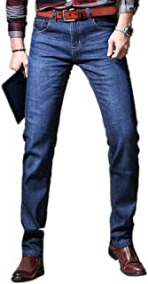 Men's Stretchy Winter Velvet Fleeced Lined Thicken Straight Fit Jeans