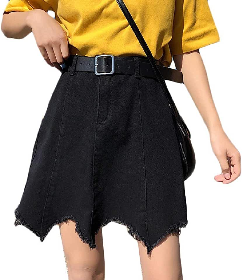 Vska Women Plus Size High Waist Loose Fit Denim Ripped Hole Summer Skirt