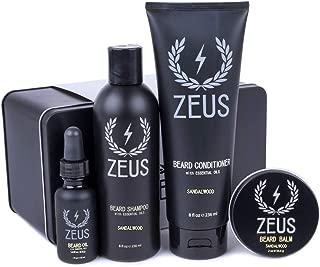 Zeus Everyday Beard Grooming Kit- Men's Daily Set for Quality Beard Maintenance (Scent: Sandalwood)