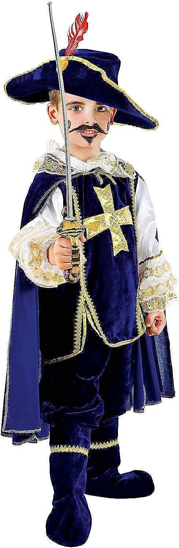 Costume di autonevale da Moschettiere in Velluto bambino Vestito per Bambino Ragazzo 1-6 Anni Travestimento Veneziano Htuttioween Cosplay Festa Party 1047 Taglia 5