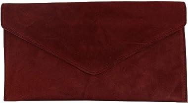 Damen-Clutch aus Veloursleder, Abend-Clutch, für Hochzeit, Party, mit Kettenriemen, Rot - burgunderfarben - Größe: One Size