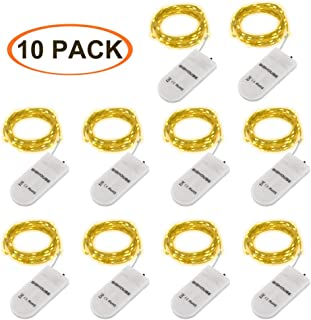 LED Lichterkette Batterie, 10 Stück 2M 20 Micro LEDs Lichterkette mit CR2032 Batterie Betrieb IP65 Wasserdicht String Fairy Light für Party, Garden, Christmas Dekor, Flasche DIY, Warmweiß