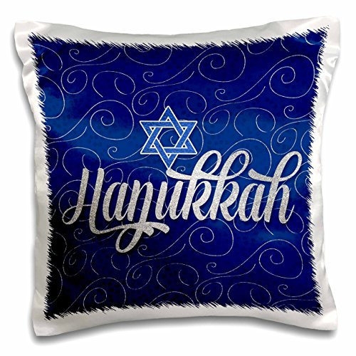 3D Rose Star of David with Silver and Blue Hanukkah Word Art Pillow Case, 16' x 16'