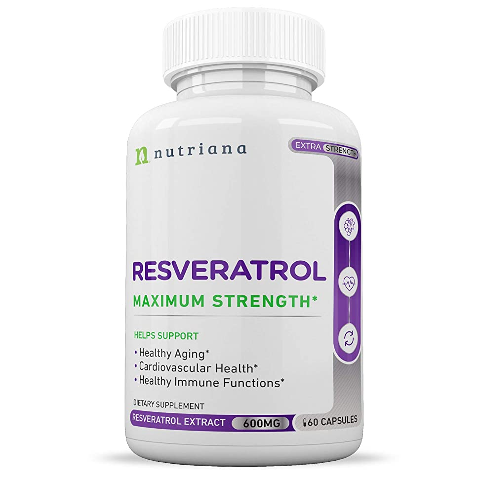 Best Resveratrol Antioxidant Supplement - Resveratrol Capsules -Anti Aging Supplements for Cardiovascular Support and Healthy Aging - 60 Reservatrol Supplement Capsules