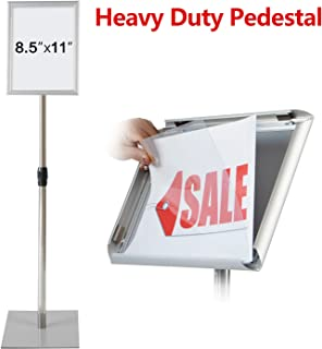T-SIGN Adjustable Heavy Duty Pedestal Poster Stand, Square Steel Base 11 x 8.5 Inch Aluminum Snap Open Frame Vertical and Horizontal Displayed, Silver